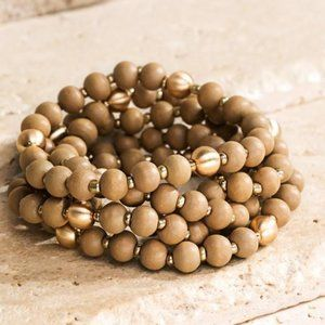 Jewelry - ON DISPLAY FAUX WOOD BEADED BRACELETS-LIGHT MOCHA